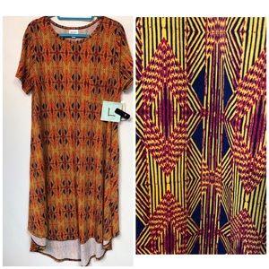LuLaRoe Carly Dress Aztec Print Size Large NWT